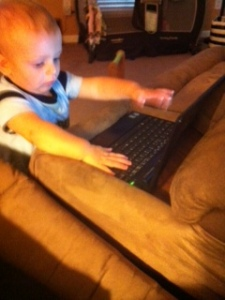 Davey honing his typing skills months ago!