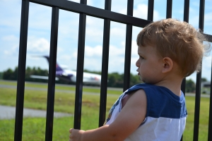 Davey checking out the plane.