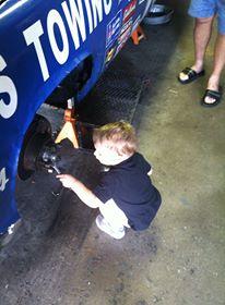 Fixing the car.