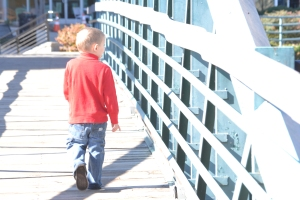 A walk across the footbridge at the Wyche Pavillion.