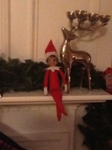 Santa Elf Davey on the mantle.