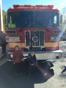 Fire Safety day and story time at the library consisted of a real truck.