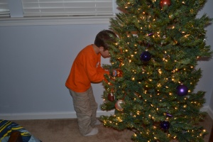 Placing the first ornaments.